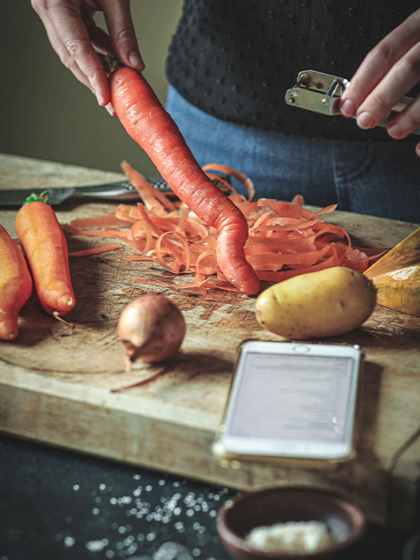 Préparation de la recette avec l'app Smood